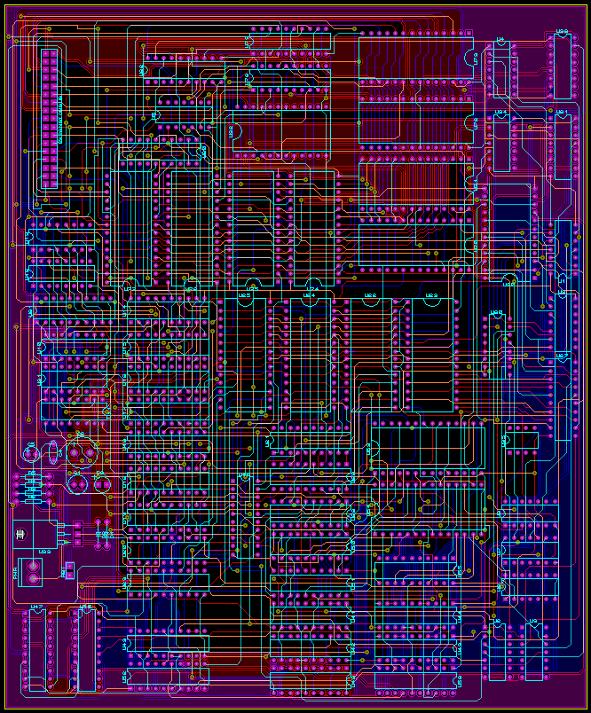 so i chose to populate one board with the main part of the processor using  four layers and the expansion board using 2 layers instead